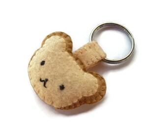 Brown bear keychain, plush teddy bear key ring, brown felt bear softie, stuffed bear gift, cute bear, woodland animals, felt animals