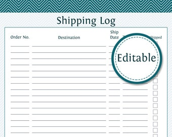 Shipping Log - Fillable - Business Planner - Printable Organizational PDF - Instant Download