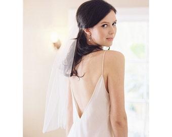 Simple elbow bridal Veil, wedding veil, waist length, cut edge, tulle Style no. 2006