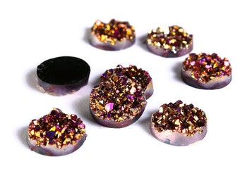 12mm Gold and pink round resin cabochon - Faux druzy cabochon - Faux drusy cabochon - Textured cabochons (1216)