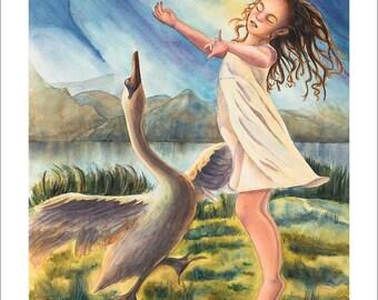 Dancing girl and Swan Watercolor Art painting Print, Dream Dance, Swan Lake by Annie Valenti