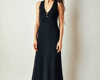 ON SALE - Vintage Long Black Sweater Dress