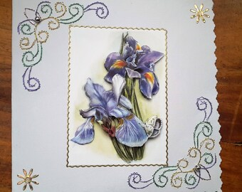 Blue Iris - hand made 3D card