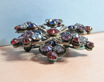 Vintage Two Layer Rhinestone Flower Brooch Gold Tone Filigree Multi Color Round Crystals Blue Red Purple Prong Set Dimension Pin (D944)