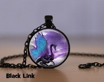 Blue Wing Dragon Necklace Dragon Pendant Necklace or Dragon Keyring Dragon Jewelry Dragon Pendant Dragon Necklace