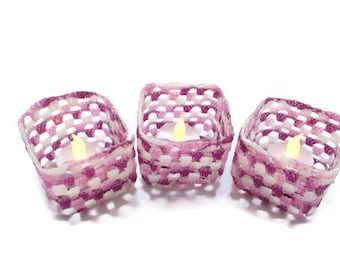 Crochet Candle Holder Variegated Purple, Lilac and White, party decor, wedding decor, or just a special gift, Ring dish, ring dish holder,