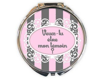 """Pocket mirror silver """"Will you be my best man?"""", image 5cm diameter"""
