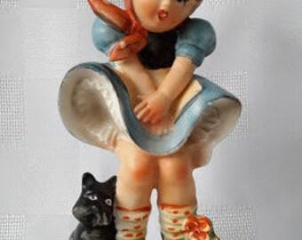 Hummel Style Girl Porcelain Figurine, Marilyn Monroe Pose, Japan. c.1950