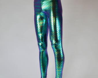 Green Holograph Fish Scale, Merman Leggings // Great Holographic Burning Man Costume // Men's Mermaid Meggings