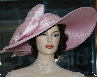 Pink Kentucky Derby Hat, Kentucky Oaks Hat, Ascot Edwardian Hat, Southern Belle Wedding Hat, Women's Church Hat - Titanic