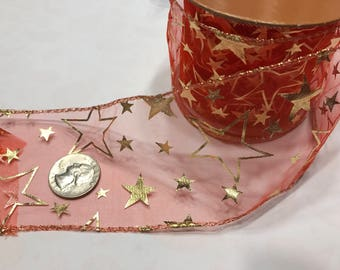 9 feet of sheer red with gold star ribbon, 2 1/2 inch wide (BR31)