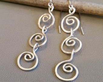 Three Little Swirls Long Dangle Earrings, Gift for Her Long Silver Earrings for Women, Sterling Silver Chain Earrings for Mom, Boho Earrings