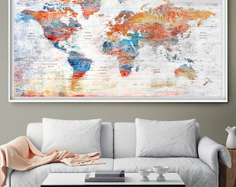 Push Pin World Map Poster Print Large Detailed World Map Wall Art World Map Print Wall Art Set Poster World Map Wall Decor L107
