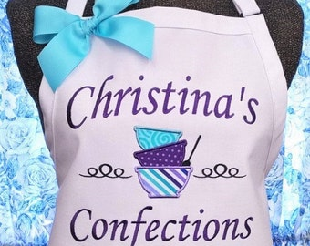 Personalized Apron Cooking Apron Bakery Apron Mixing Bowls Monogrammed  Gift