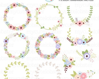Flower Wreath Collection Clipart Set - floral wreaths, flower frames, wedding, flower - personal use, small commercial use, instant download
