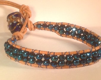 SALE - Sparkly metallic blue and tan bohemian wrap bracelet with glass beads and leather cord