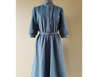 80's vintage Walden Petites soft china blue belted secretary dress.