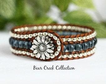 Denim Blue Beaded Wrap Bracelet, 3 Row Cuff, Country Boho, Leather Jewelry, Button Bracelet, Daisy Bracelet, Flower