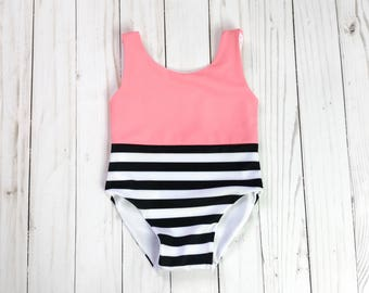 Pink Lady One Piece Baby Girl Swimsuit | Pink and Black Striped Swimsuit | Infant Swimsuit | Toddler Swimsuit | Baby Leotard | Girl Swimwear