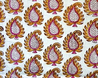 Hand Block Printed Fabric in Beautiful Paisley Pattern- One Yard