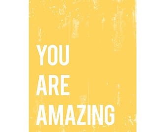 40% OFF You are Amazing Typography Wall Art Print, Nursery Wall Art, Kid's Art, Kid's Decor, Gender Neutral Nursery, You are amazing print
