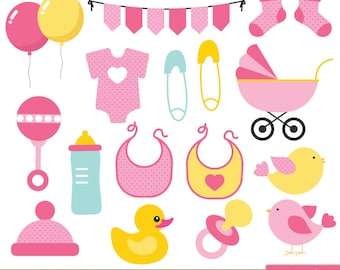 Girls Baby Shower Clip Art, Baby Shower Clipart, Pink Baby Girl Cute  Bunting Stroller Balloons Party Pregnant Onesie   Commercial U0026 Personal