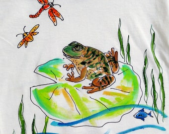 Frog on Lily pad Handpainted T-shirt for kids and adults