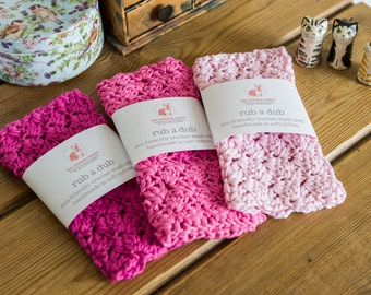 Wash cloth - The 'rub a dub' wash cloth - Eco and skin friendly soft cotton washcloth, crocheted with cotton in a rainbow of colours