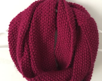 Berry - Hand Knit Infinity Scarf