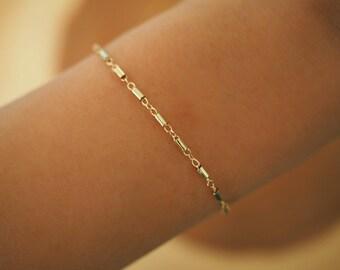 14k Gold Boho Dainty Chain Bracelet/ Real Gold Bracelet / Gold Filled Jewelry/ Dainty Jewelry/ Simple Gold Chain Bracelet / Dainty Bracelet