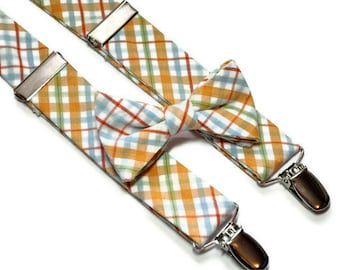 Bowtie and Suspenders in Orange and Blue Plaid