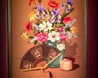 Vintage 50's embroidery Oriental floral picture with fan crewel yarn mid century embroidered Picture with frame
