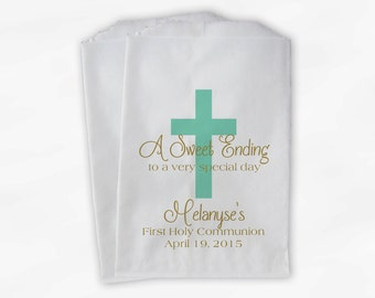 First Communion Favor Bags - Baptism or Religious Party Custom Favor Bags - Set of 25 Mint and Gold Paper Treat Bags (0073)