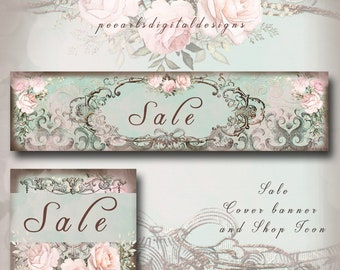 """SALE cover banner and shop icon, Charming Elegance, instant download, already  have """"SALE"""" text, pale pink roses, aqua, premade, shop sale"""