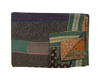 Amazing Vintage Kantha Quilt Rug Throw Blanket Unique Old Cotton Boho Bohemian Indian Hand stitched Amazing One of a Kind