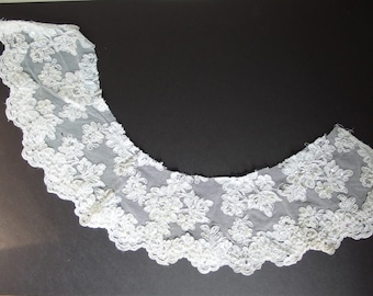 Yardage Vintage White Alencon Lace - Pearled and Sequined - Recycled