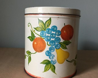 Vintage Tin Canister Fruit Design Kitchen Tin 1940s