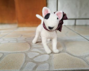 "4""Custom Needle felted realistic bull terrier.Miniature Art Sculpture. One of a kind. Wool animal sculpture. Poseable"