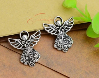 20PCS--27x24mm ,Fairy Angel Charms, Antique silver Fairy Angel Charm pendant, DIY supplies,Jewelry Making