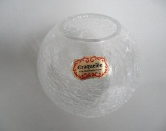Craquelee glass art vase,ice glass vase,Vintage glass vase,german collectible glass vase