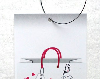100 PRICE TAGS HANG Tags Retail Tags Boutique Tags Cute Shopping Bag with Girl Clothing Tags With 100 Plastic Loops