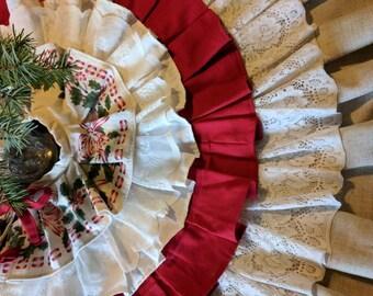 Vintage Linens Christmas Tree Skirt, Designer Tree Skirt, One of a Kind Christmas, Country Christmas Decor, Handmade Christmas Decor
