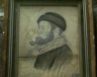 Folk Art Man With Pipe-charcoal, artist unknown
