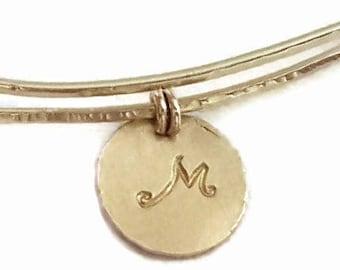Charmed Bangle, Monogram Bracelet, Personalized Gold Bracelet, Stacking Bracelet, Adjustable Bracelet, Handmade Bracelets, Venexia Jewelry