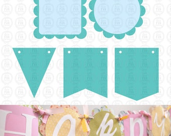 5 designs bunting banner flags bundle, wedding, birthday digital cut files SVG, DXF studio3 files instant download, scrapbookong