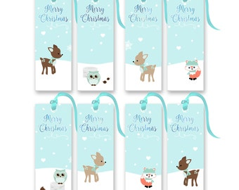 Printable Christmas Tags - Winter Woodland Gift Tags - Christmas Woodland Tags - Set of 8 Christmas Tags - Holiday Gift Tags
