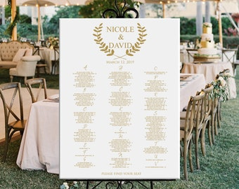 Alphabetical wedding seating chart, alphabetical printable seating plan gold seating chart DIGITAL, wedding or baby shower seating chart