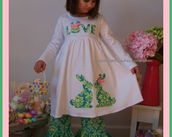Bunny Dress for Girls, Classy Easter Dress, Toddler Floral Easter Dress, Girls Easter Dress with Bunnies, Children Easter Dress