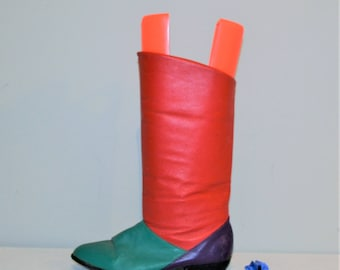Vintage Boots Pixie Retro Color Block Slouch