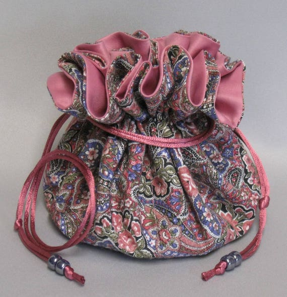 Jewelry Travel Tote---Drawstring Organizer Pouch---Paisley Floral Design---Eight Pockets---Large Size